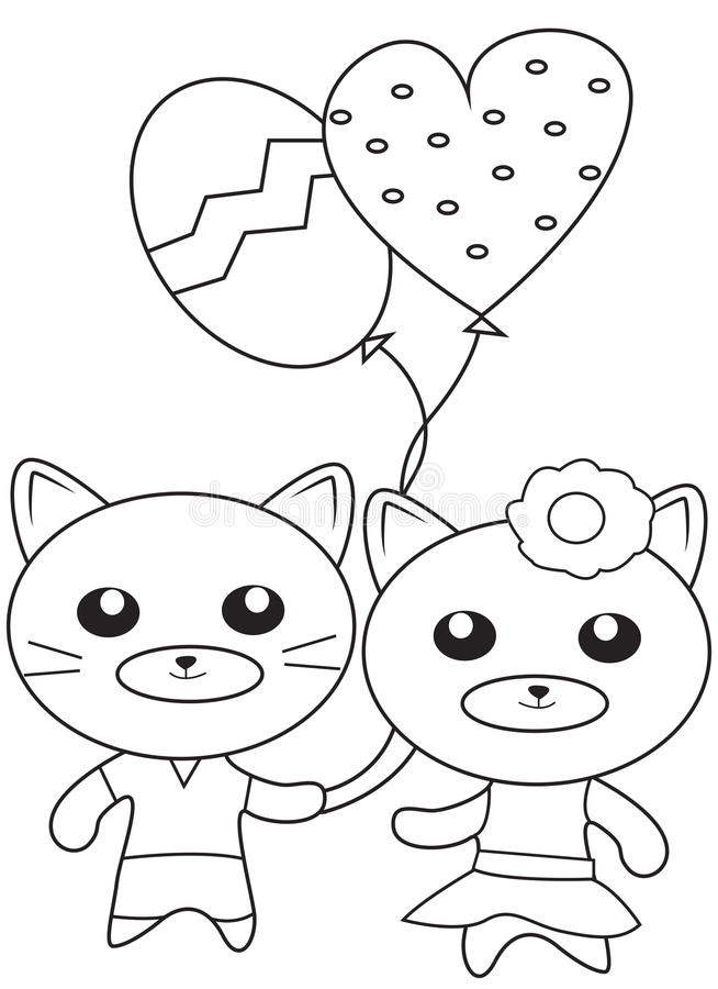Kittens With Balloons Coloring Page Stock Illustration ...