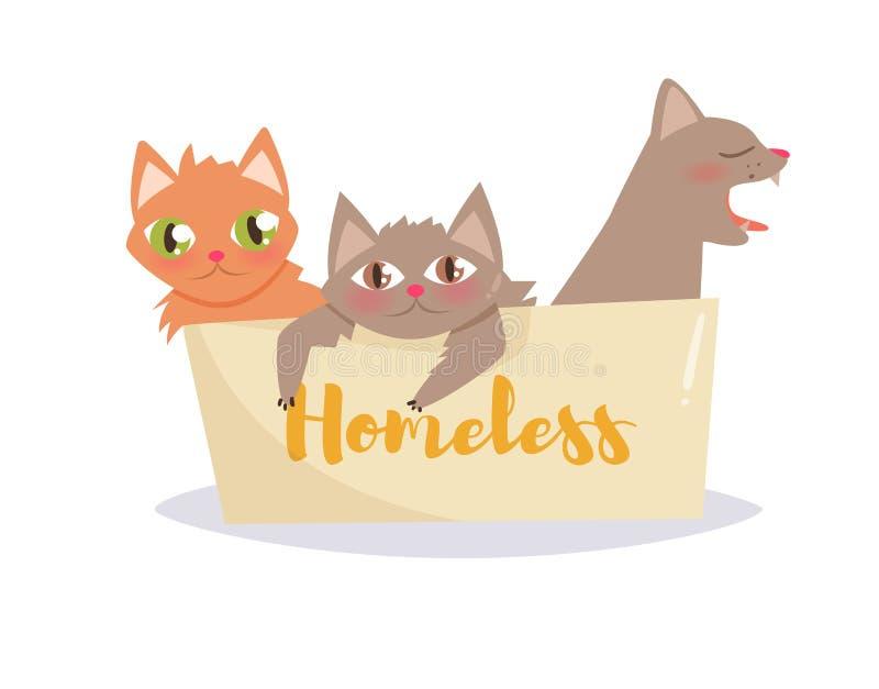 Kittens in a cardboard box. Vector. Cartoon stock illustration