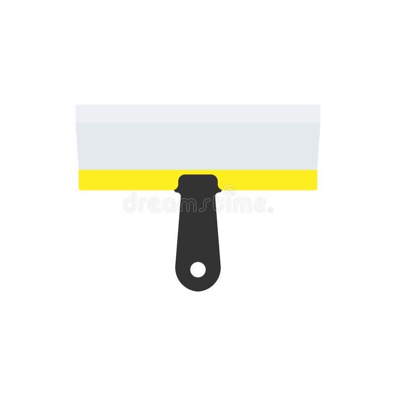 Kittmesser-Ausr?stungserbauerbandb?rsten-Vektorikone Flacher Werkzeugschaber des Baureparaturzementspachtelmaurers stock abbildung