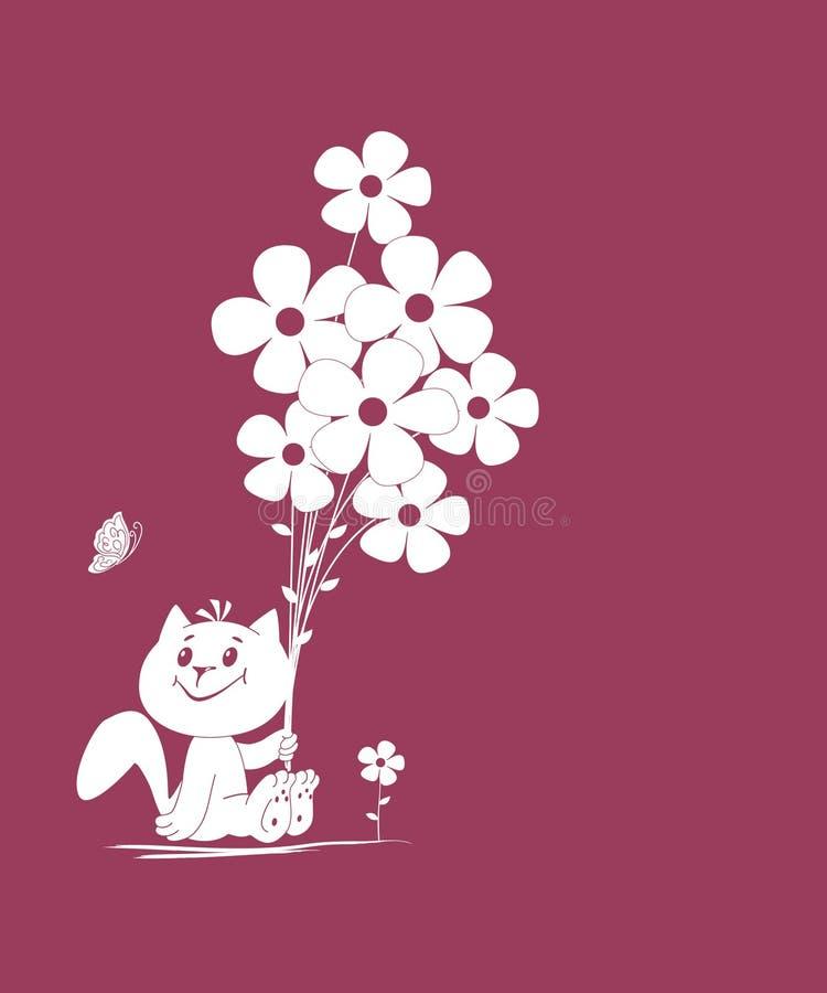 Kitty avec le bouquet illustration stock