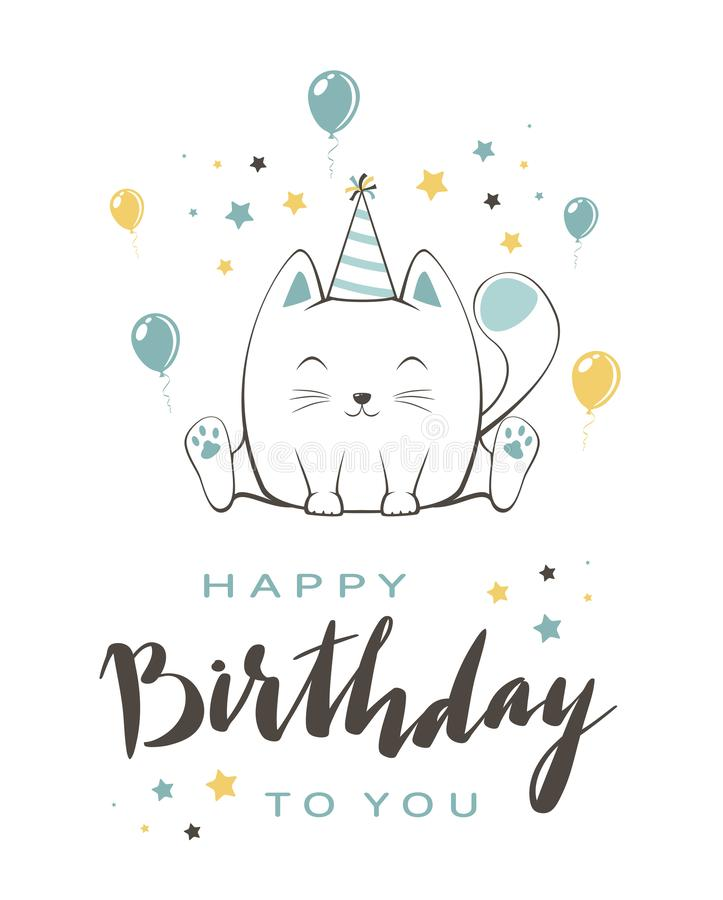 Kitty azul con poner letras a feliz cumpleaños en el fondo blanco libre illustration