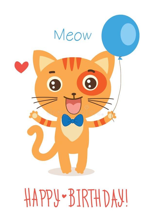Kitty With Balloon drôle Vecteur animal de bande dessinée mignonne sur le fond blanc Cat Greetings Card drôle illustration de vecteur