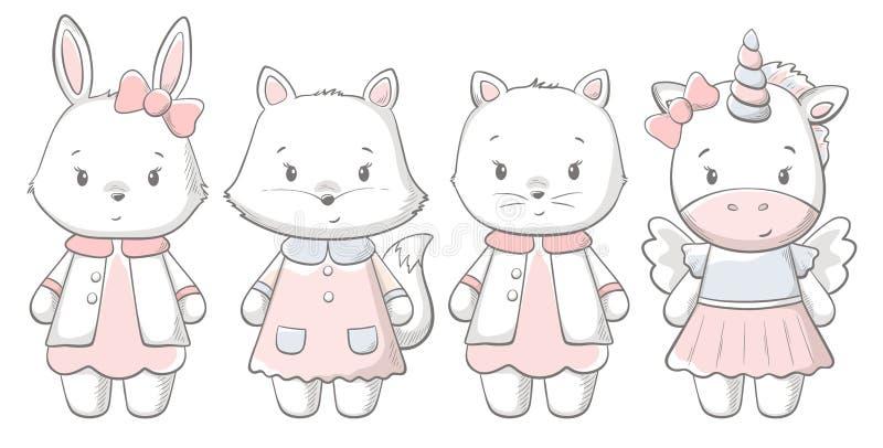 Kitty, bunny, fox, ponu cute print. Sweet baby vector illustration
