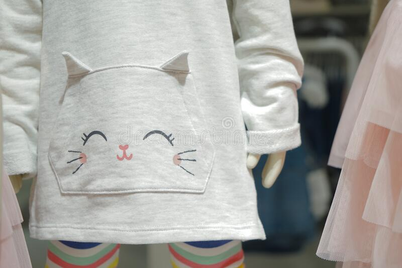 Kitty cartoon on the baby light gray sweater royalty free stock images