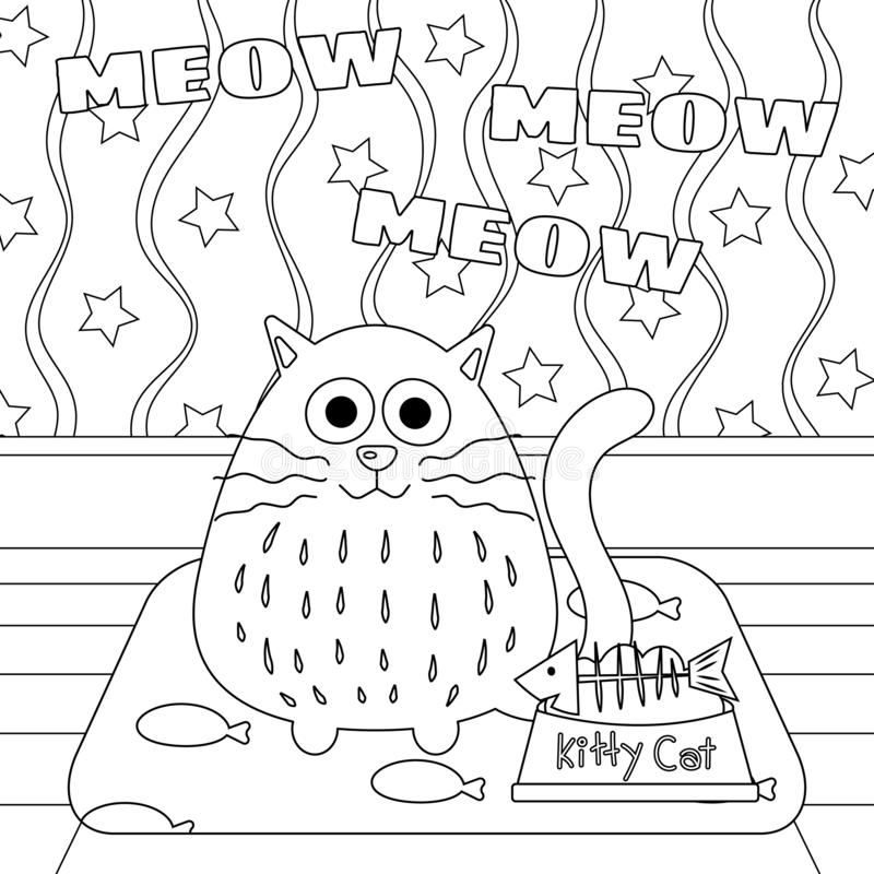 Kitty Cat with Fishbone in Food Bowl Colorless. Kitty cat with fishbone in food bowl vector illustration. Cute kitty cartoon colorless. Meditation coloring page stock illustration