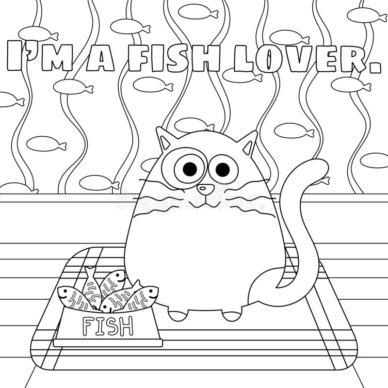 Kitty Cat with a Lot of Fish in Bowl Colorless. Kitty cat with fish in food bowl vector illustration. Cute kitty cartoon colorless. Meditation coloring page vector illustration