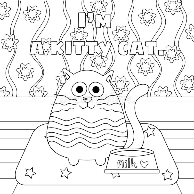 Kitty Cat with Milk Bowl Colorless. Kitty cat with milk in food bowl vector illustration. Cute kitty cartoon colorless. Meditation coloring page. Coloring page royalty free illustration