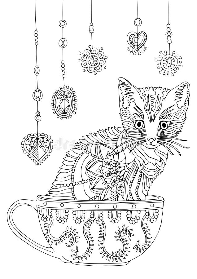Kitty in cup with garland. Hand drawn cat. Sketch for anti-stress coloring page. Kitty in cup. Hand drawn cat. Sketch for anti-stress adult coloring book in zen vector illustration