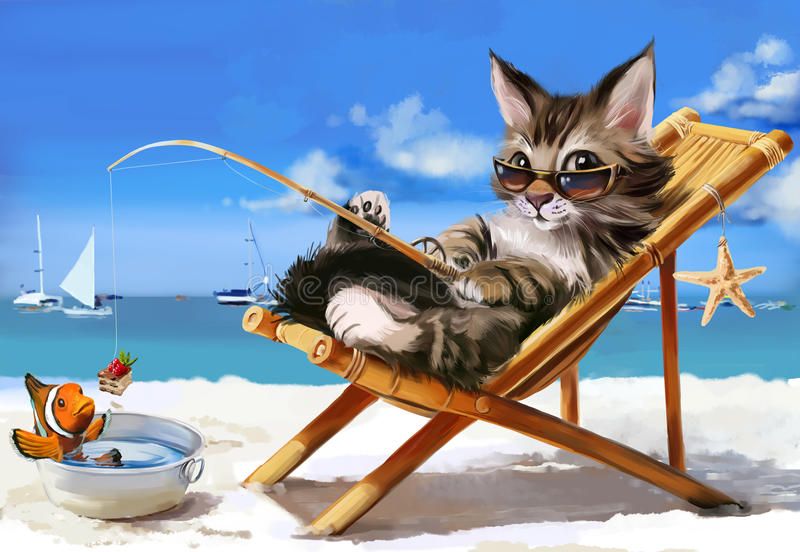 Kitty - disegno dell'acquerello del pescatore royalty illustrazione gratis