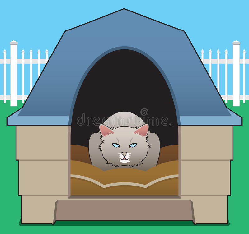 Kitty in the Doghouse. A kitty has decided the doghouse belongs to her now vector illustration
