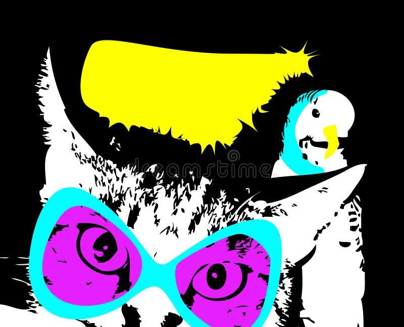 Kitty e pappagallo, amici fotografia stock