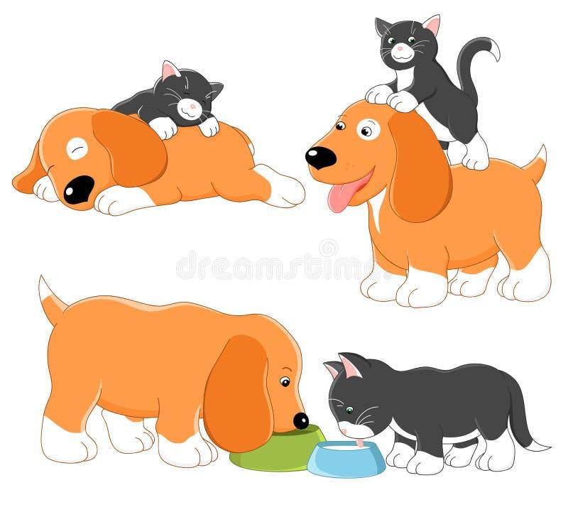 Kitty et chiot illustration libre de droits