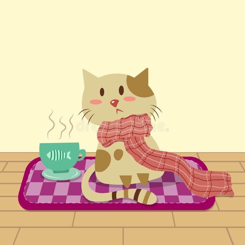Kitty et tasse de café illustration libre de droits