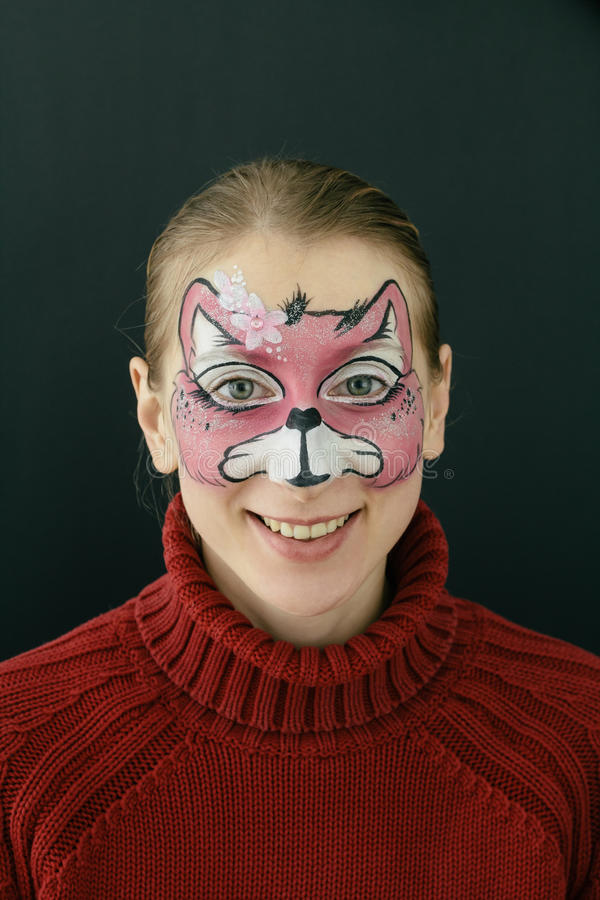 Kitty face painting stock photography
