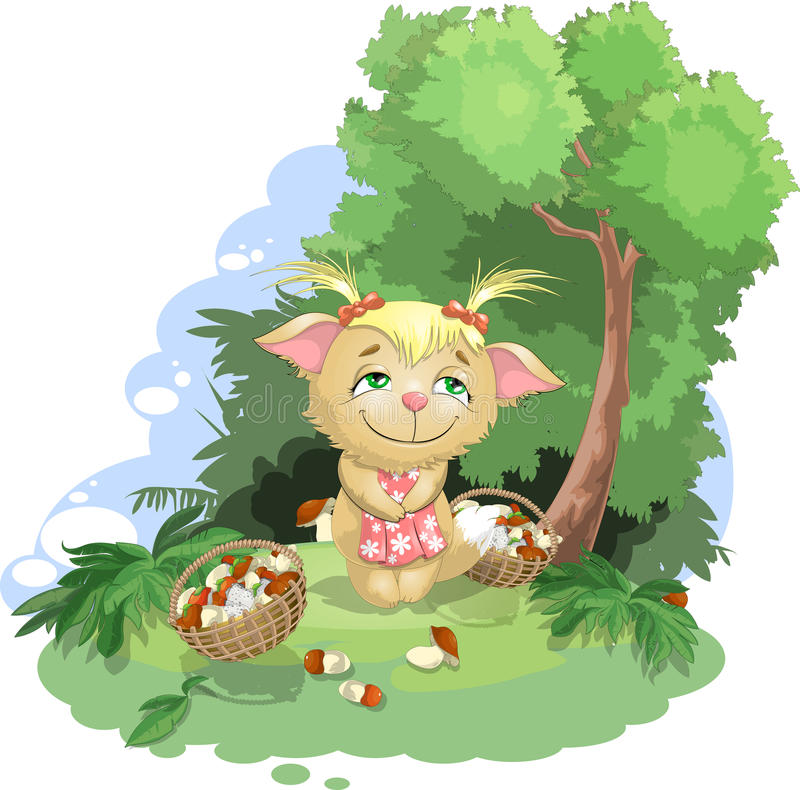 The kitty gathers mushrooms. Kitty who gathers mushrooms in the wood stock illustration