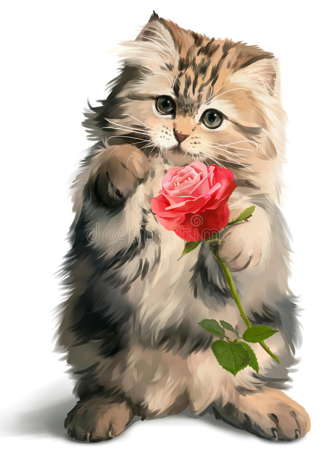 Kitty gives rose. Watercolor painting royalty free illustration