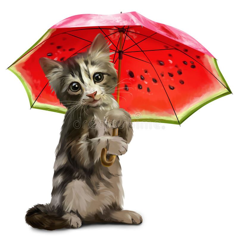 Kitty holds a red umbrella royalty free illustration