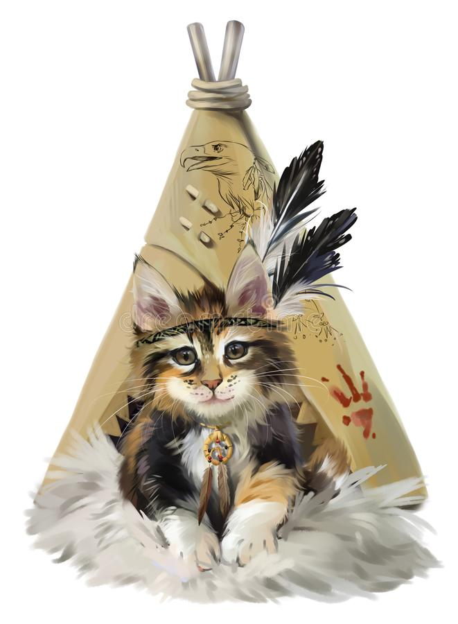 Kitty Indian vector illustration