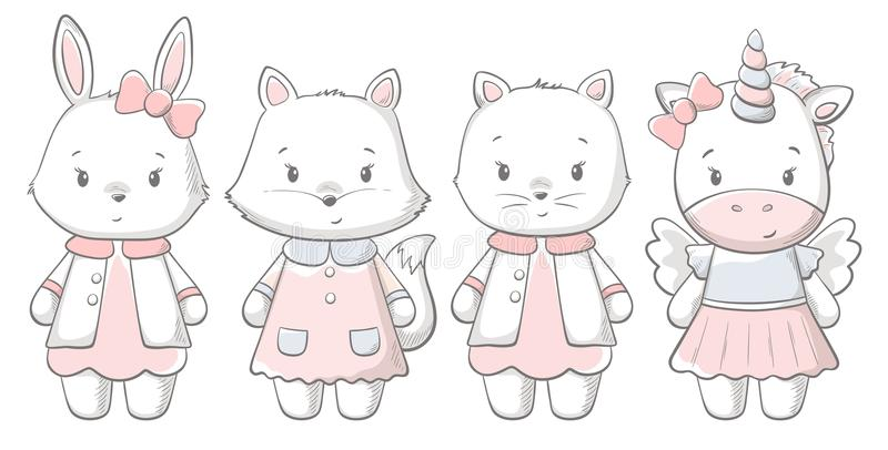 Kitty, lapin, renard, copie mignonne de ponu Bébé doux illustration de vecteur