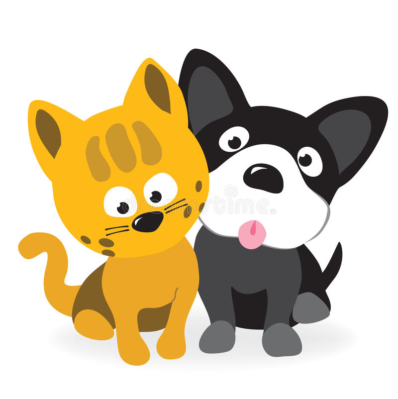 Kitty and pup. Vector illustration of two buddies – kitty and pup stock illustration
