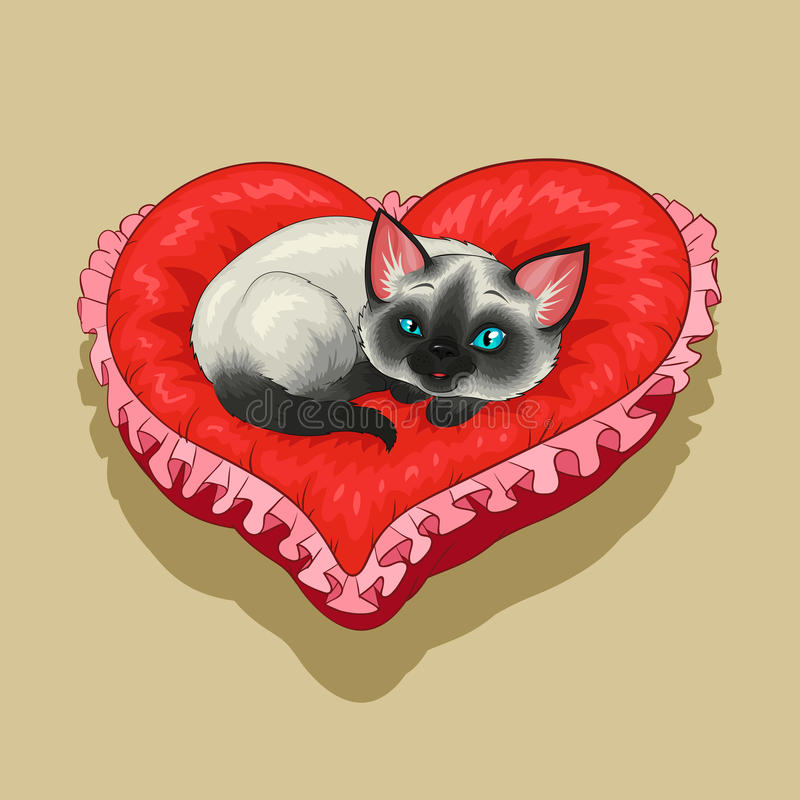Kitty on red heart shaped pillow
