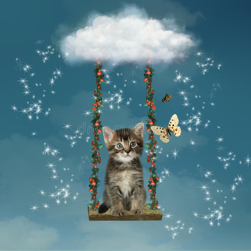Download Kitty in the sky stock illustration. Image of animal - 26038629