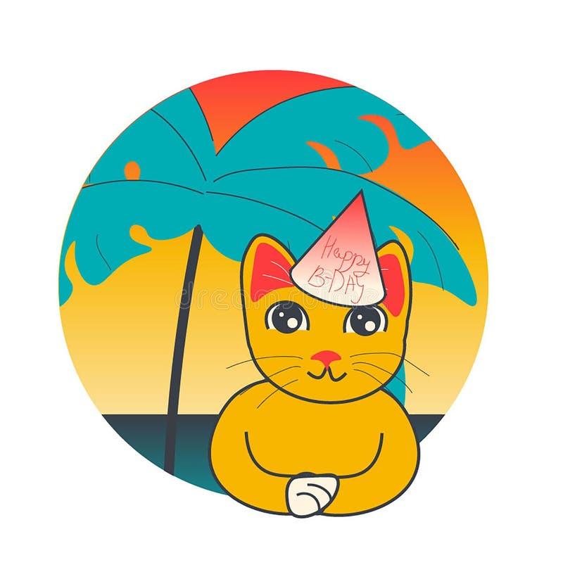 Kitty sur la plage tropicale illustration de vecteur