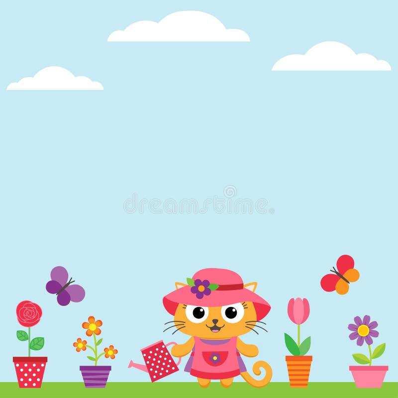 Kitty watering flowers vector illustration