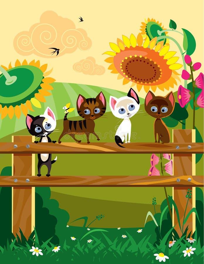 Kittys no verão ilustração do vetor
