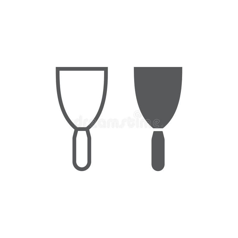 Kitu noża linia, glif ikona, narzędzie i cyklina, szpachelka znak, wektorowe grafika, liniowy wzór na białym tle ilustracja wektor