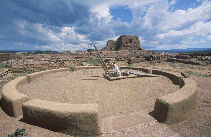 Kiva e stanza cerimoniale del pueblo, circa l'ANNUNCIO 1450-1500, parco storico nazionale dei PECO, nanometro fotografie stock libere da diritti
