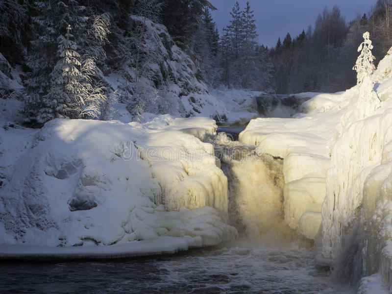 Kivach waterfall in the winter, Karelia, Northern Russia. royalty free stock photography