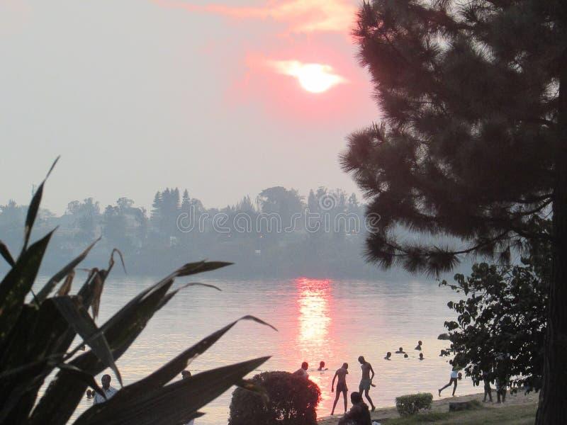 Kivu日落 免版税库存图片