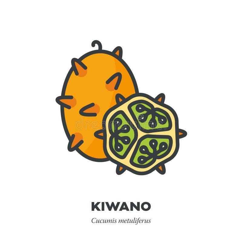 Kiwano果子象,填装了概述样式传染媒介 库存例证