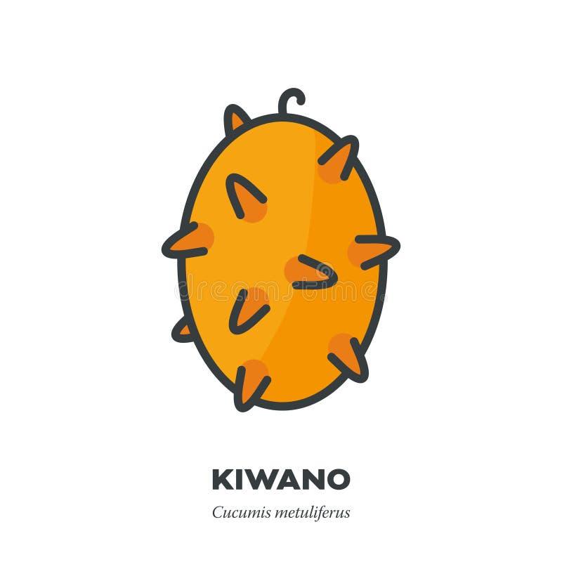 Kiwano果子象,填装了概述样式传染媒介 皇族释放例证