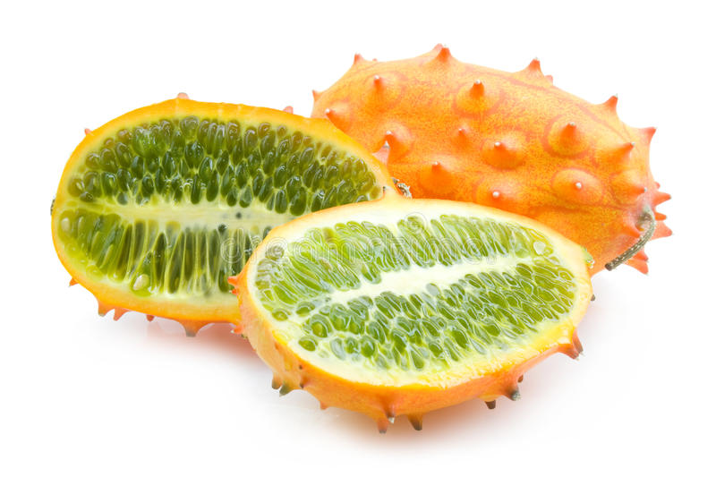 Kiwano melon. With slices isolated