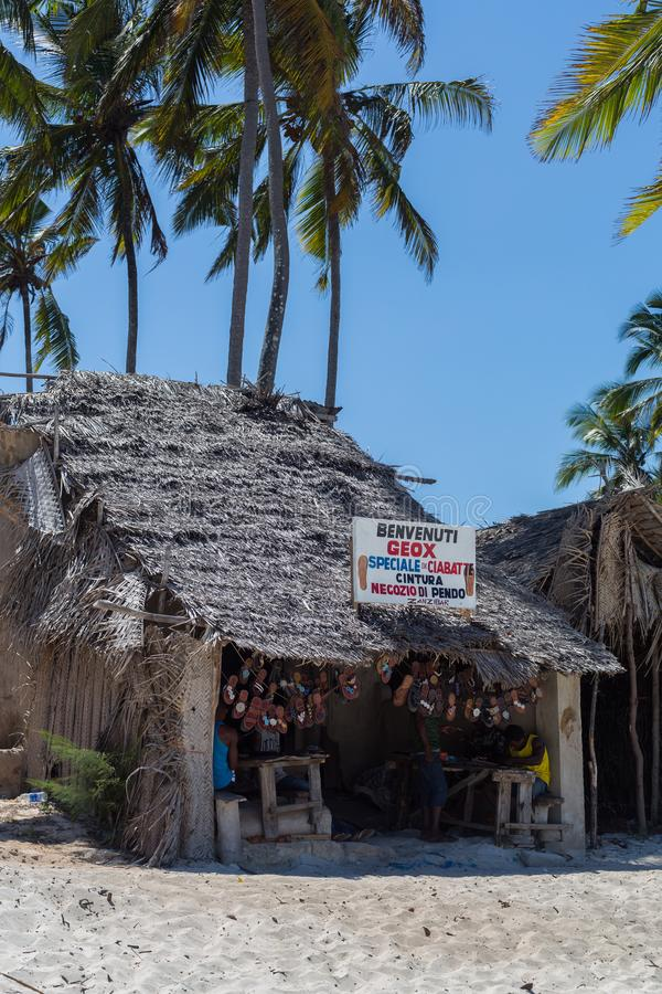 2018.02.21, Kiwengwa, Tanzania. Travel around Tanzania. Vintage building on the beach. Holidays in Zanzibar. Authentic shop on the beach royalty free stock photography