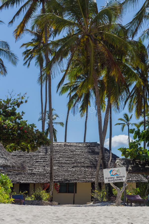 2018.02.21, Kiwengwa, Tanzania. Travel around Tanzania. Vintage building on the beach. Holidays in Zanzibar. Authentic shop on the beach stock photos