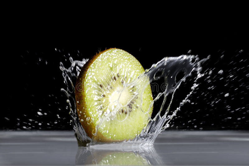 Kiwi. Is falling to the water stock photography