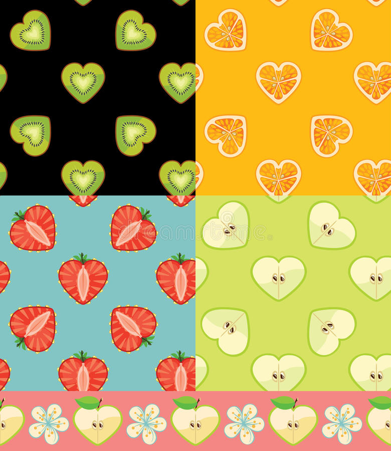 Kiwi apelsin, jordgubbe, Apple Uppsättning av den sömlösa modellen för frukt vektor illustrationer