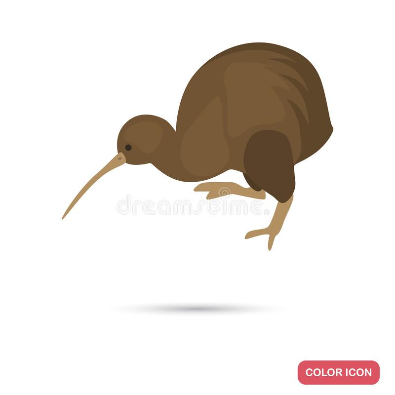 Kiwi bird color flat icon for web and mobile design stock image