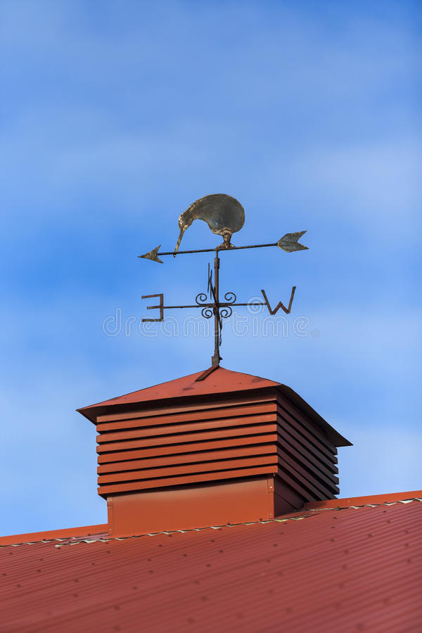 Kiwi bird weather vane. On a rooftop Cromwell, Otago New Zealand stock photo
