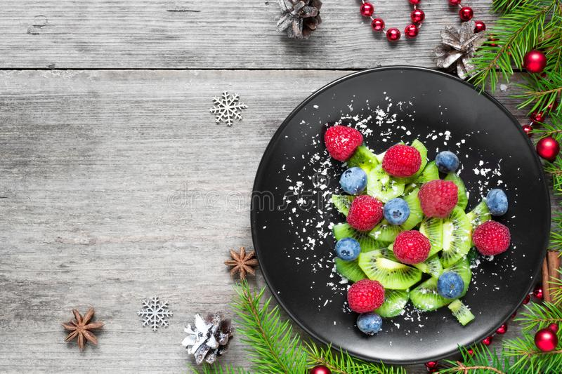 Kiwi christmas tree with berries and coconut looks like snow stock photography