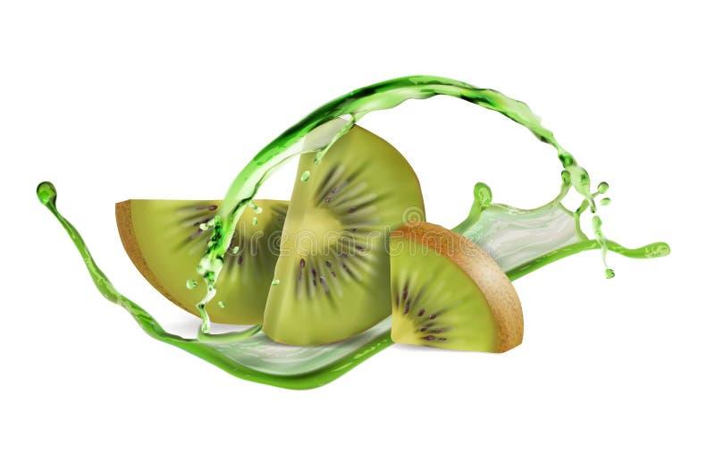 Kiwi cortado con un espray del jugo ilustración del vector