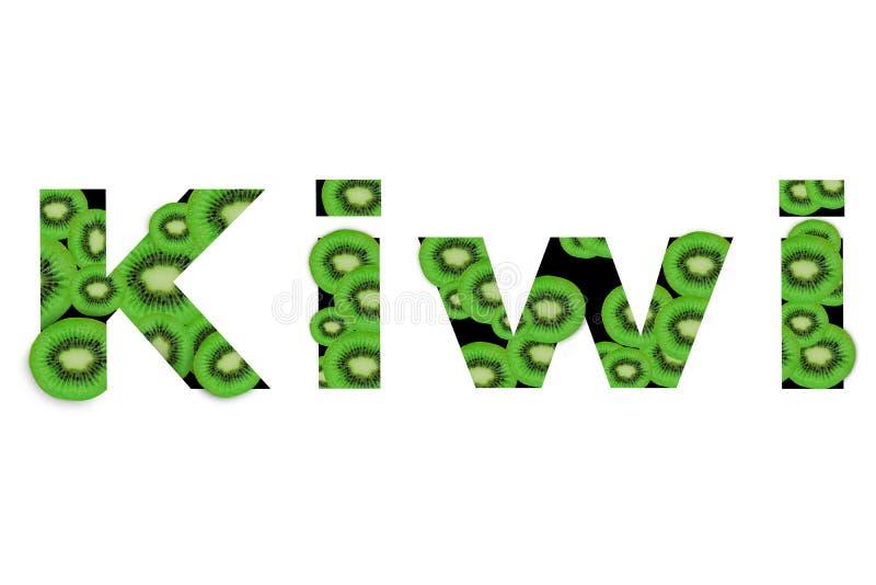 Kiwi de la palabra creado del surtido de rebanada del kiwi en el fondo blanco ilustración del vector