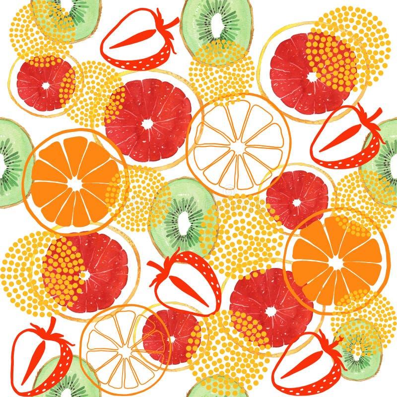 Kiwi del pomelo de la acuarela y modelo inconsútil anaranjado ilustración del vector