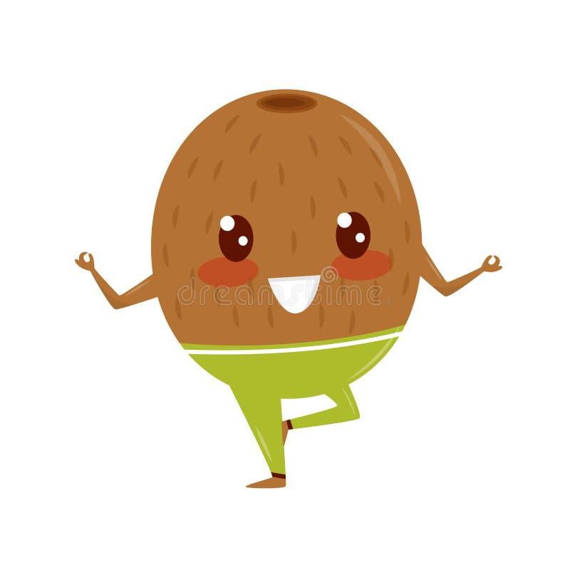 Kiwi drôle faisant l'exercice de yoga, illustration folâtre de vecteur de personnage de dessin animé de fruit sur un fond blanc illustration libre de droits
