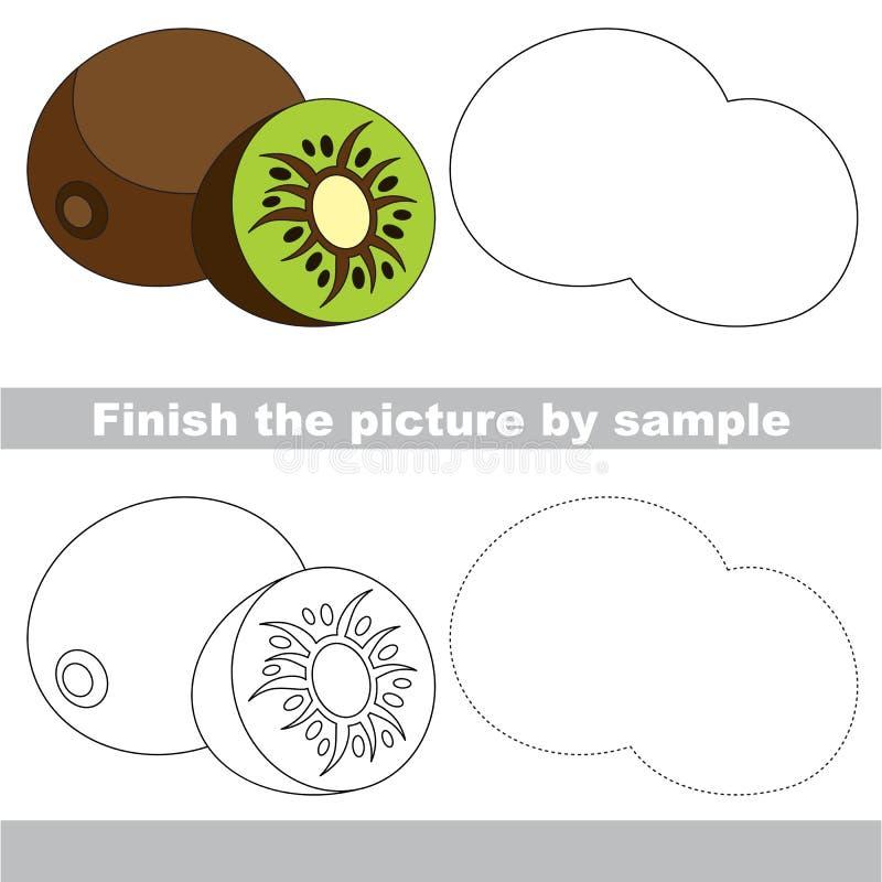 Kiwi dulce Hoja de trabajo del dibujo ilustración del vector
