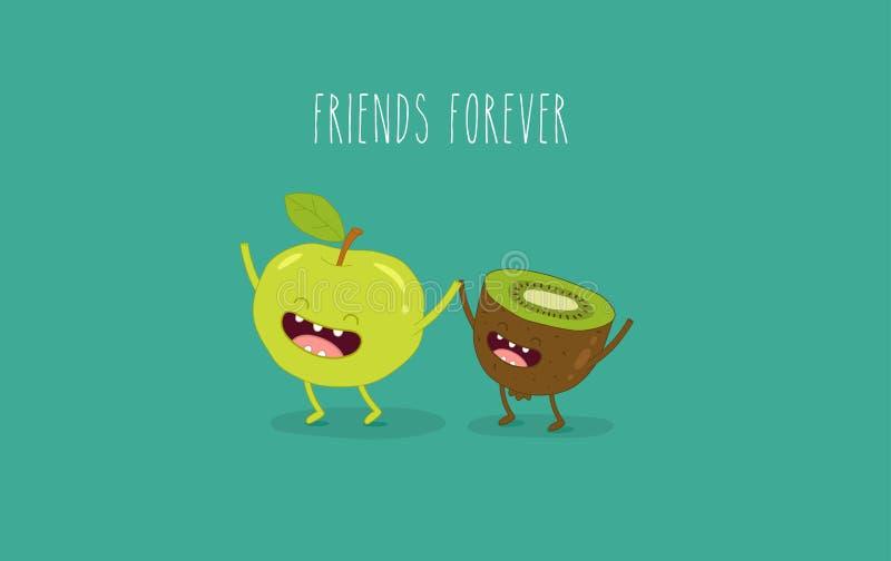 Kiwi e mela illustrazione di stock