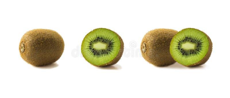 Kiwi-Früchte und Scheiben, auf weißem Grund isoliert Tropische Früchte auf weiß Kiwi mit Kopierplatz für Text Obst aus verschiede lizenzfreies stockfoto